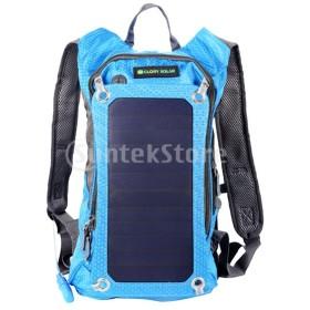 サイクリング 登山 リュック ザック ソーラーパネル USB充電 水筒ポッチ付き 防水 多機能 青