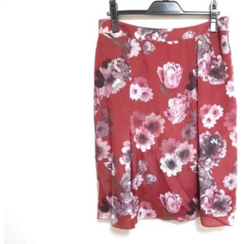 【中古】 ダックス DAKS スカート サイズ12 L レディース レッド ピンク 黒 花柄