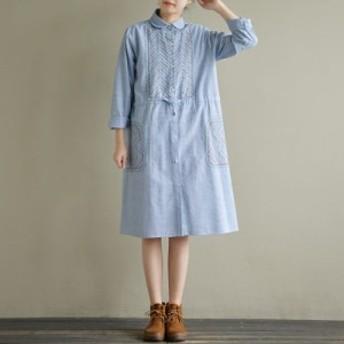 ワンピース レディース 『上品』『正品』 長袖 刺繍 シャツ 綿 大きいサイズ 大人カジュアル 黒 40代 ファッション 50代