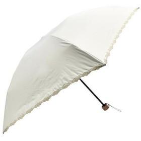 軽量遮光遮熱 晴雨兼用 折りたたみ傘 フラワー刺繍 ホワイト