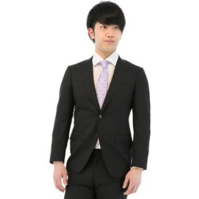 【TAKA-Q:スーツ・ネクタイ】ストレッチウォッシャブルストライプ黒2ピーススーツA体 レギュラーフィット
