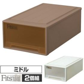 2個組 フィッツ ケース ミドル幅39 奥行66 高さ23押入れ 収納ボックス 日本製 同色2個セット 押入れ 収納 引き出し 収納ケース 収納ボックス チェスト 衣類