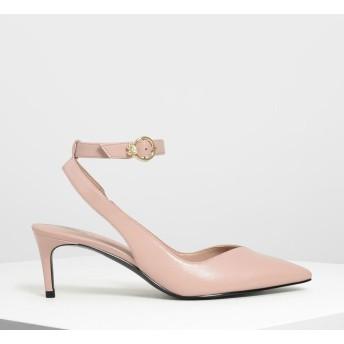 エンベリッシュド アンクルストラップパンプス /Embellished Ankle Strap Pumps (Peach)