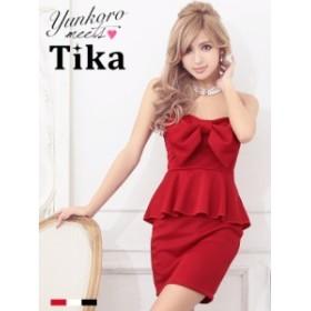 Tikaティカ ビッグリボンベアぺプラムタイトミニドレス(ホワイト/レッド/ブラック)  ナイトドレス 白赤黒 パーティードレス キャバ ドレ