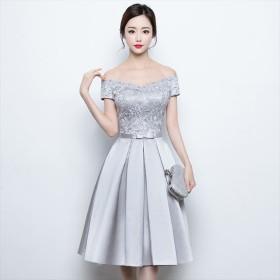 ecafb7eb70994 ドレス - パーティードレス通販 Precious Lady パーティードレス シルバー 刺繍 リボン ミモレ丈 半袖 ワンピース