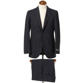 BEAMS F / Savile Clifford チョークストライプ 3ボタンスーツ メンズ スーツ NAVY/3×5 48