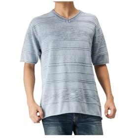 【30%OFF】 マックハウス Navy NAVY JEANS VネックニットTシャツ 92 7225P WM メンズ サックス L 【MAC HOUSE】 【タイムセール開催中】