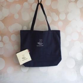 ハニーウッドネイビーブルーキャンバスバッグ+小銭入れギフトバッグ