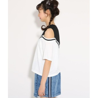 Tシャツ - PINK-latte ★ニコラ掲載★レイヤード風肩あき トップス