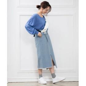 コウベレタス KOBE LETTUCE リメイク風デニムタイトスカート (ライトブルー)