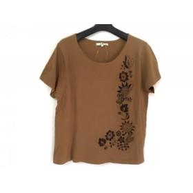 【中古】 ニジュウサンク 23区 半袖カットソー サイズ46 XL レディース ブラウン ニット/フラワー/刺繍