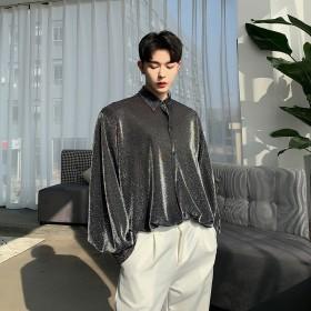 シャツ - BIG BANG FELLAS 光沢 ゆったり シャツ モード系 韓流 韓国 ファッション メンズ 原宿系 韓国系メンズ 長袖 メンズ ストリート系 モードストリートK-POP アイドル 衣装 ルーズシャツ 個性的