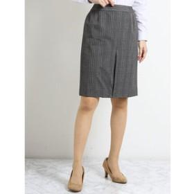 【TAKA-Q:スカート】ストレッチウォッシャブル セットアップタイトスカート グレーチェック