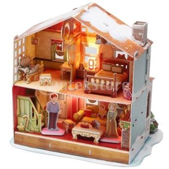 4色 Diy人形ハウスキット 木製家具 ledライト ミニチュア ハウス 模型 - クリスマスハウス#1