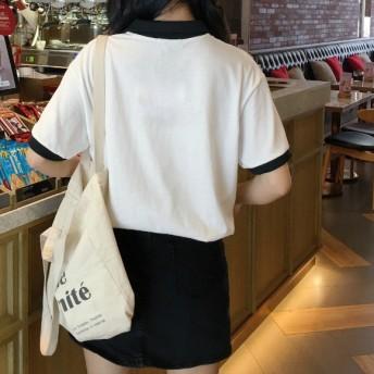 Tシャツ - G & L Style レディース 半袖 トップス カットソー シンプル カジュアル ポロシャツ風 半袖Tシャツ 5982