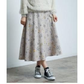 【ROPE' PICNIC:スカート】フラワープリントフレアスカート