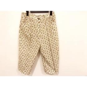 【中古】 レリアン Leilian パンツ サイズ13 L レディース アイボリー グリーン マルチ 花柄
