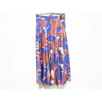 【中古】 ダイアグラム ロングスカート サイズ38 M レディース ボルドー ネイビー ベージュ