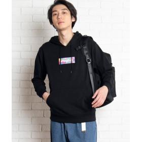 WEGO WEGO/カラフルボックスプルパーカー(ブラック)【返品不可商品】