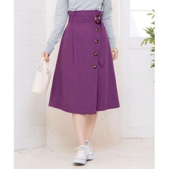コウベレタス KOBE LETTUCE ラップ風ボタン付きデザインスカート (パープル)