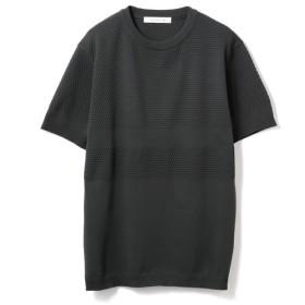 ESTNATION / 織り柄ボーダー半袖ニット チャコールグレー/X-LARGE(エストネーション)◆メンズ Tシャツ/カットソー
