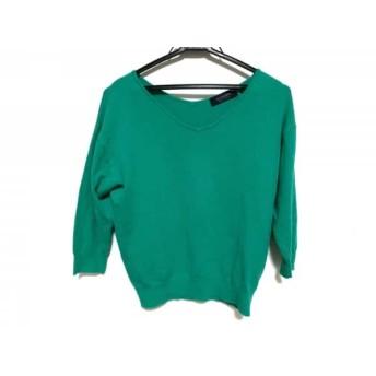 【中古】 ジャスグリッティー JUSGLITTY 七分袖セーター サイズ2 M レディース グリーン