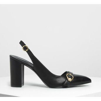 エンベリッシュド アシンメトリーヒール /Embellished Asymmetrical Heels (Black)