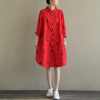 ワンピース レディース 『上品』『正品』 長袖 キャラクター 刺繍 綿 シャツ 大きいサイズ 大人カジュアル 40代 ファッション 50代