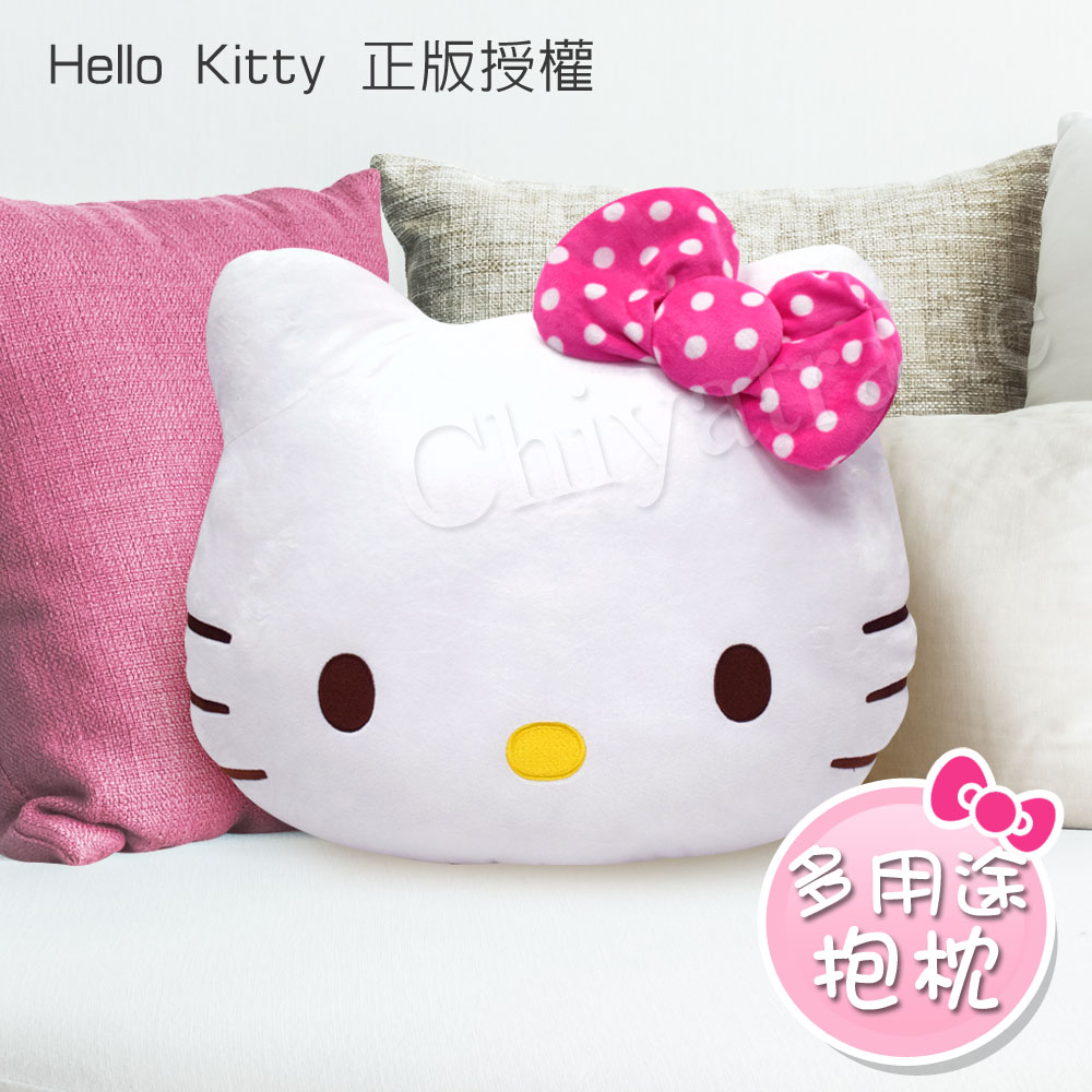 【Hello Kitty】凱蒂貓 桃紅色點點蝴蝶結 大抱枕 午安枕 腰靠枕 沙發枕 汽車枕47x39cm(正版授權)