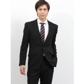 【TAKA-Q:スーツ・ネクタイ】ストレッチ洗えるスラックス 織り柄黒 2ピーススーツレギュラーフィット