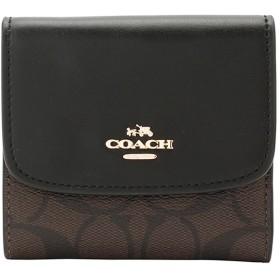 コーチ COACH f87589 二つ折り財布 ブラウン×ブラック PVC×レザー f87589imaa8