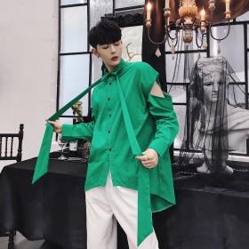 シャツ - BIG BANG FELLAS リボン付き デザインシャツ モード系 韓流 韓国 ファッション メンズ サロン系 原宿系 韓国系メンズ ボタンダウン カットソー 長袖メンズ ストリート系 モードストリート K-POP アイドル エメラルドグリーン ジェンダーレス 個性