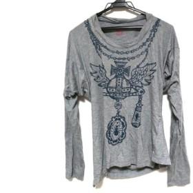 【中古】 ヴィヴィアンウエストウッドレッドレーベル 長袖Tシャツ サイズ2 M レディース グレー ネイビー