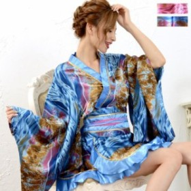 ゴールドパイピングフリルミニ着物ドレス 和柄 衣装 ダンス よさこい 花魁 コスプレ キャバドレス【1018】