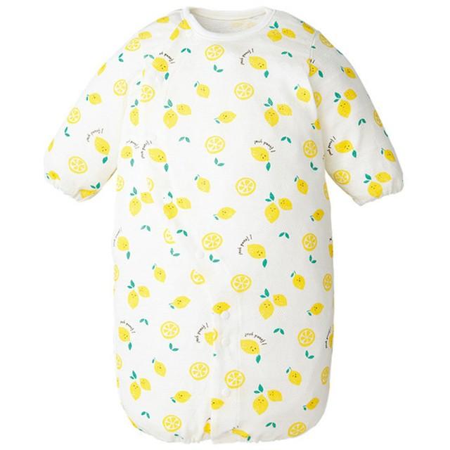 新生児 長袖ドレスオール(ツーウェイオール) 足まわりゆったり イエロー ベビー・キッズウェア 新生児・乳児(50~80cm) ドレス・ドレスオール (52)
