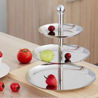 Baoblaze ステンレス ケーキスタンド カップケーキ フルーツ プレート パーティー 装飾 全2種 - 3段