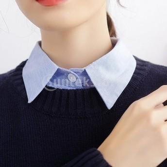 ガールズ レディース 付け襟 角襟 衿 シャツ ブラウス 取り外し可能 青色