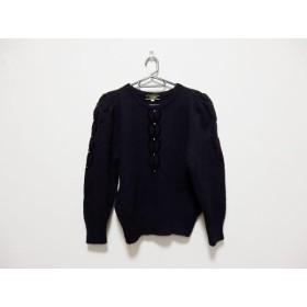 【中古】 レリアン Leilian 長袖セーター サイズ9 M レディース 黒 ラインストーン