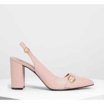 エンベリッシュド アシンメトリーヒール /Embellished Asymmetrical Heels (Peach)