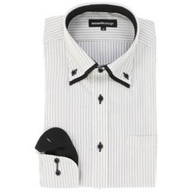 【SALE/送料無料】【semantic design:トップス】形態安定スリムフィット2枚衿ドゥエボットーニボタンダウン長袖ビジネスドレスシャツ