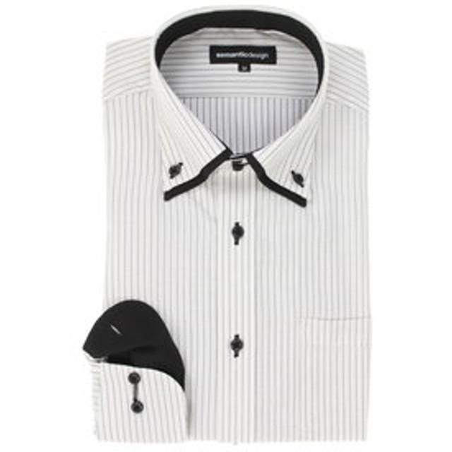 SALE開催中【semantic design:トップス】形態安定スリムフィット2枚衿ドゥエボットーニボタンダウン長袖ビジネスドレスシャツ