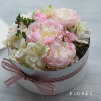 ボックスアレンジ バラ&アジサイ ピンク・ホワイト アートフラワー