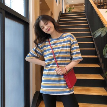 Tシャツ - G & L Style レディース 半袖 トップス カットソー シンプル カジュアル ボーダー ラッシュガード風 半袖Tシャツ 5981