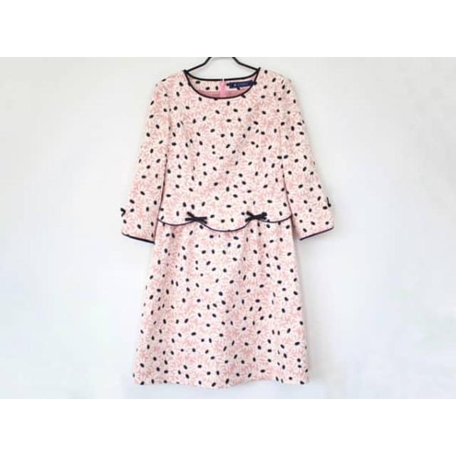【中古】 エムズグレイシー ワンピース サイズ38 M レディース 美品 ピンク 白 黒 花柄/リボン