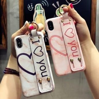 2色 ハート柄 ベルト付き iPhone ケース 送料無料 iPhone6/6s iPhone6plus/6splus iPhone7/8 iPhone7plus/8plus iPhoneX