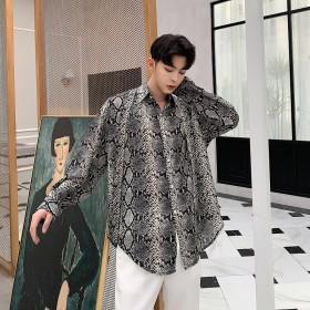 シャツ - BIG BANG FELLAS ストールネクタイセット パイソン柄 蛇柄 ゆったり シャツ モード系 韓流 韓国 ファッション メンズ 原宿系 韓国系メンズ 長袖メンズ ストリート系 モードストリート K-POP アイドル 総柄 オラオラ イケイケ 個性的