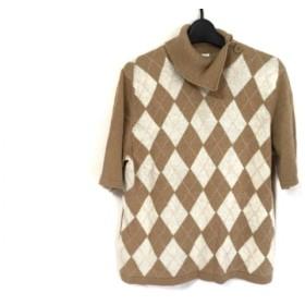 【中古】 ジユウク 自由区/jiyuku 半袖セーター サイズ46 XL レディース ライトブラウン 白 ピンク