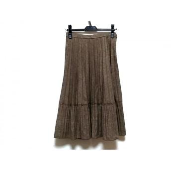 【中古】 レリアン ロングスカート サイズ11 M レディース ベージュ ダークブラウン プリーツ/ラメ