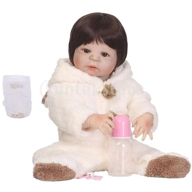 7b8c98ae5ebd8b 3カラー ソフトシリコーン 22インチリボーンドール 赤ちゃん人形 幼児人形 おしゃぶり 哺乳瓶セット