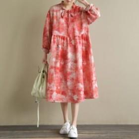 ワンピース レディース 『上品』『正品』 長袖 花柄 ペールトーン フレア 大きいサイズ 大人カジュアル 黒 40代 ファッション 50代